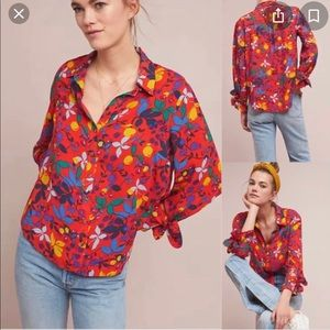 Anthro Maeve Blithe Button Down Floral Blouse 14